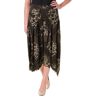 Free People Womens Printed Sharkbite Hem Maxi Skirt