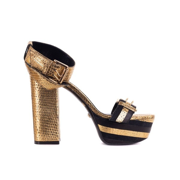 Shop Just Cavalli Womens Gold leaf Buckle Python Leather Sandals ... 34dbe3acf3a9