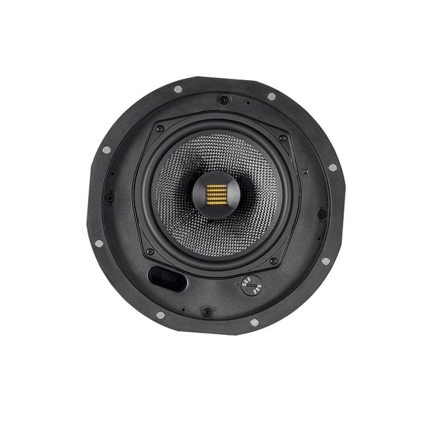 6.5 Inch with Magnetic Grille and Ribbon Tweeter Pair Monoprice Amber 2-Way Carbon Fiber Ceiling Speakers