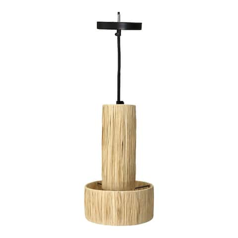Aurelle Home Modern Iron Pendant Lamp with Raffia Shade