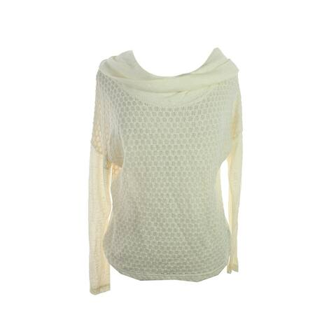 Sanctuary Winter White Long-Sleeve Honeycomb-Knit Sweater S