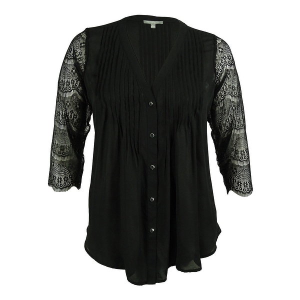 681cd9ab Shop NY Collection Women's Button Front Lace Sleeve Shirt Blouse - Black -  0X - On Sale - Free Shipping On Orders Over $45 - Overstock - 16086041