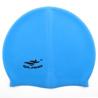 Unisex Silicone Dome Shaped Non-slip Stretchable Swimming Cap Bathing Hat Blue