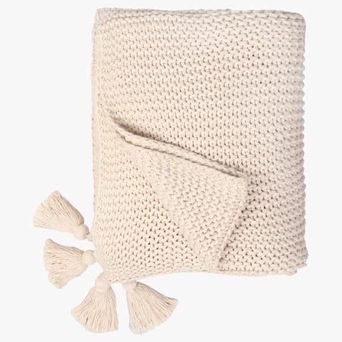 "Organic Cotton Chunky Knit Oversized Throw Blankets, 50""X70"""