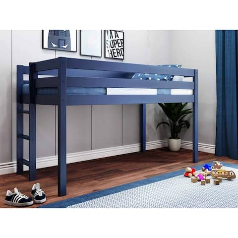 JACKPOT Contemporary Low Loft Twin Bed with End Ladder