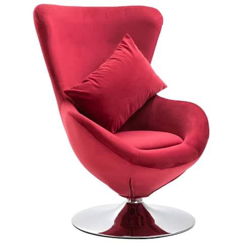 vidaXL Swivel Egg Chair with Cushion Red/Light Green/Yellow Velvet
