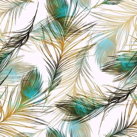 Harius Peacock Feathers Removable Wallpaper - 24'' inch x 10'ft