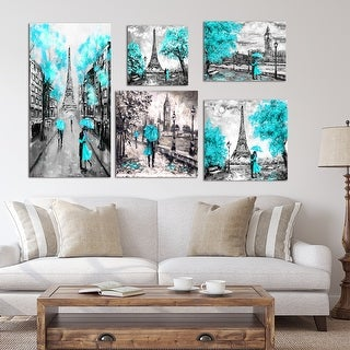 Designart - Paris London Collection (blue) - Traditional Wall Art set of 5 pieces - Blue