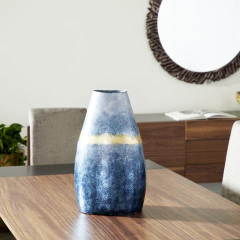 """Textured Blue and Gold Aluminum and Hand-Crafted Glass Vase, 13"""" x 21"""" - 13 x 10 x 21"""