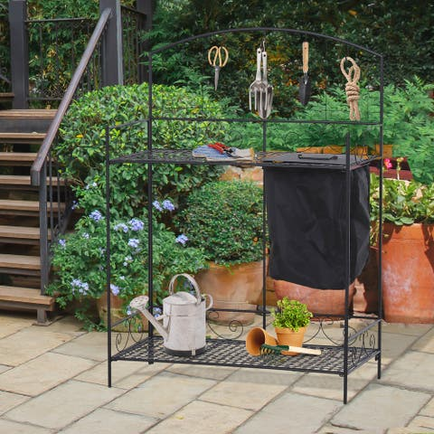 Outsunny Outdoor Plant Potting Utility Garden Table with Build-in Bag 5 Top Hooks for Hanging Tools & Spacious Workspace
