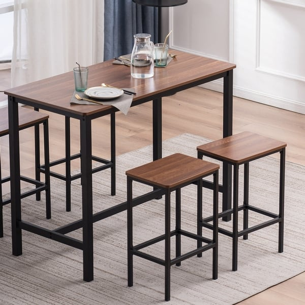 Industrial Bar Table And Chair Set With 4 Bar Stools Set Of 5 Overstock 32654444