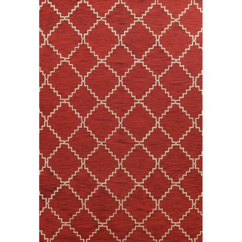 """Contemporary Trellis Red Oriental Area Rug Hand-tufted Wool Carpet - 9'0"""" x 12'0"""""""