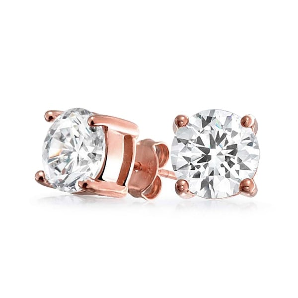 Bling Jewelry Bezel Set Round CZ Stud earrings Rose Gold Plated 6mm dr1WKgFN