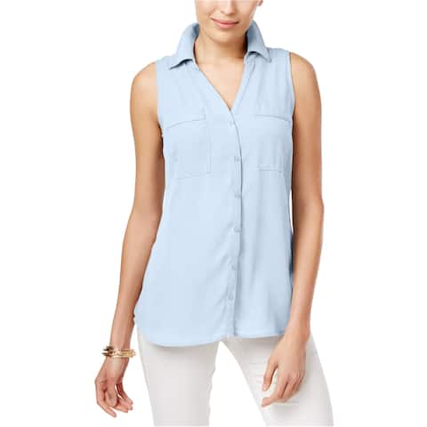 Ny Collection Womens Printd Button Up Shirt