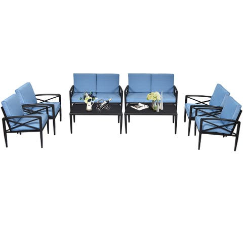 Costway 8PCS Patio Furniture Set Aluminum Frame Cushioned Sofa Chair - Black/Blue