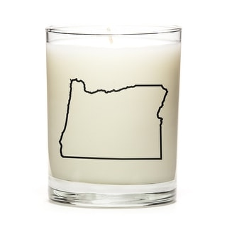 State Outline Soy Wax Candle, Oregon State, Peach Belini