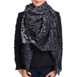 Roberto Cavalli Women's Leopard Print Silk Scarf Black Charcoal