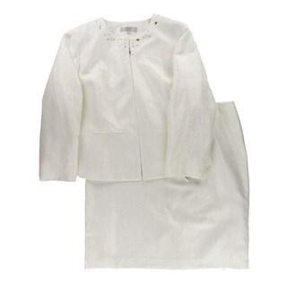 Tahari ASL Womens Skirt Suit Jacquard Embellished - 22W