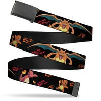 Blank Black  Buckle Charmander Evolution Poses Flame Black Red Orange Web Belt
