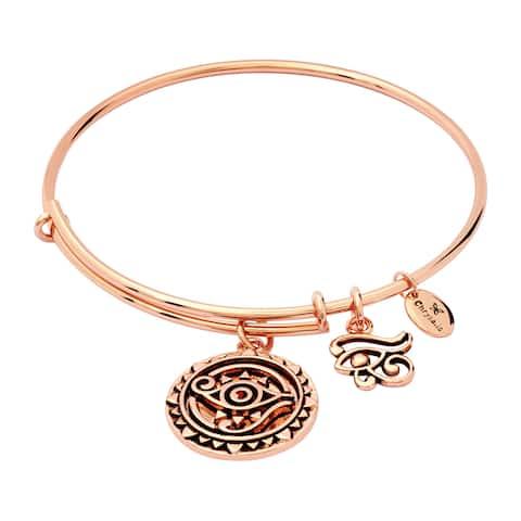 "Chrysalis 14K Rose Gold-Flashed Brass Expandable Eye of Horus Bangle, 7-8.5"" - Pink"