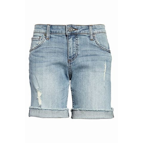 Kut From The Kloth Blue Womens 6 Distressed Boyfriend Denim Shorts