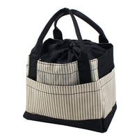 Outdoor Striped Draw String Design Lunch Warmer Tote Bag Picnic Box Light Green