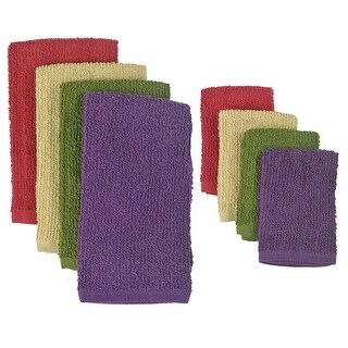 Pack of 8 Solid Multi-Colored Dish Towel and Wash Cloth Kitchen Accessory Set - Terry Cloth - N/A