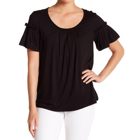 Max Studio Womens Top Black Size Small S Knit Bell-Sleeve Scoop Neck