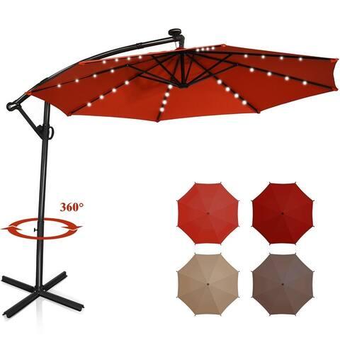 10FT 360° Rotation Solar Powered LED Patio Offset Umbrella