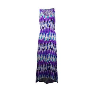 NY Collection Women's Tie Dye High Low Dress - plum blur