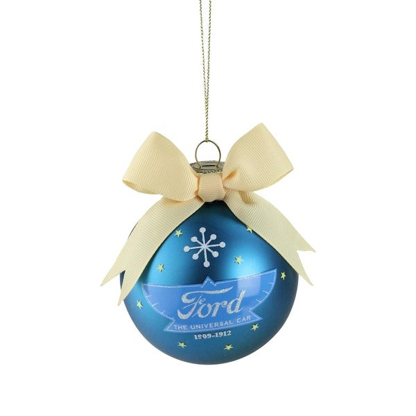 """2.75"""" Blue and Yellow """"Ford The Universal Car"""" Logo Glass Ball Christmas Ornament"""
