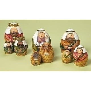 """Set of 9 Holy Family, Wisemen, and Shepherd Nativity Scene Nesting Doll Christmas Decorations 6"""" - N/A"""