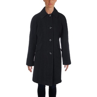 London Fog Womens Wool Blend Long Sleeves Pea Coat - S