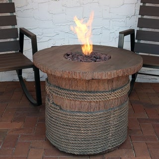 Sunnydaze Rope and Barrel Propane Gas Fire Pit Table with Lava Rocks - 29-Inch