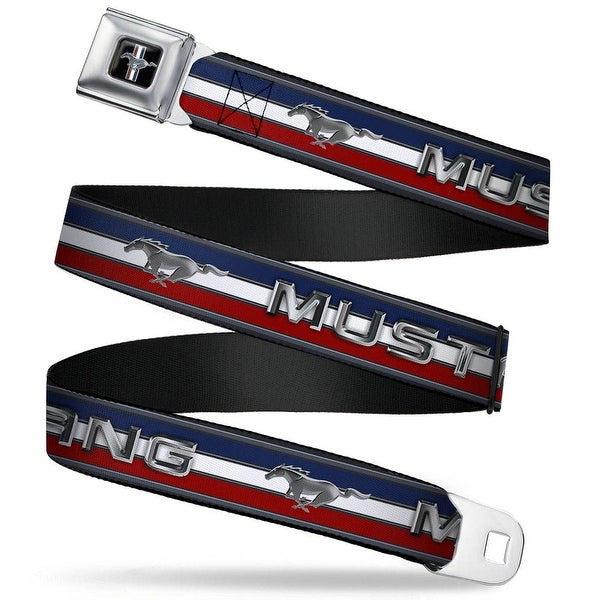 Ford Mustang Emblem Mustang Text W Tri Bar Stripe Seatbelt Belt Fashion Belt