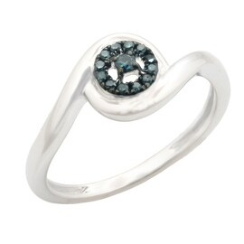 Beautiful Round Brilliant Cut Blue Color Treated Natural Diamond Engagement Ring