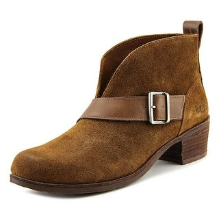 Ugg Australia Wright Belted Women Round Toe Suede Brown Ankle Boot