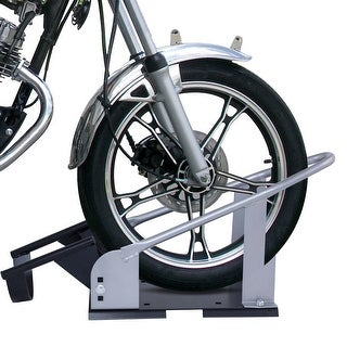 Costway Motorcycle Removable Wheel Chock Nest 17'' - 21'' Tires Bike Stand Truck Mount - sliver+ black