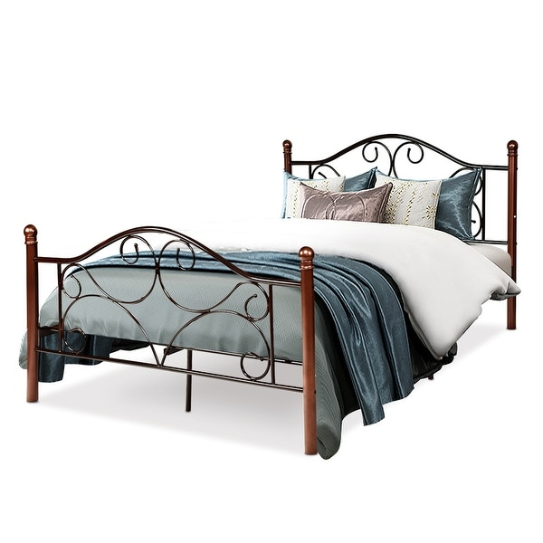 Costway Full Size Steel Bed Frame Platform Stable Metal Slats Headboard Footboard New - Chocolate