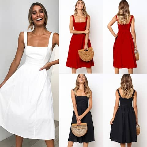 2019 Hot Sale Simple Sling Sexy Halter Dress