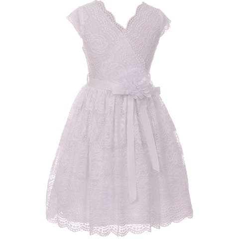 Flower Girl Dress Curly V-Neck Rose Embroidery AllOver White JKS 2066