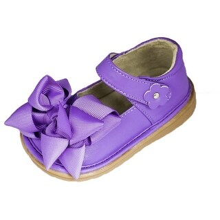 Mooshu Trainers Girls Purple Bow Squeaky Mary Jane Shoes