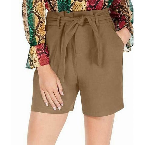 INC Women's Shorts Brown Size 4 High-Rise Belted Paperbag Regular Fit