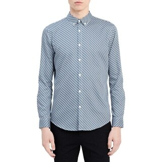 Calvin Klein Mens Button-Down Shirt Slim-Fit Pattern