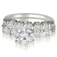 1.73 cttw. 14K White Gold Round Cut Diamond Bridal Set