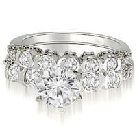 2.23 cttw. 14K White Gold Round Cut Diamond Bridal Set
