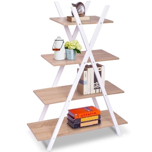 Costway Bookshelf Shelves X Shape 4 Tier Ladder Storage Bookcase Display  Home Office   Burly