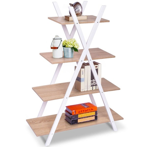Costway Bookshelf Shelves X Shape 4 Tier Ladder Storage Bookcase Display Home Office