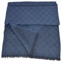 """Gucci 359905 Nile Blue XL Wool Silk Web Stripe GG Guccissima Scarf Muffler - 53"""" x 53"""""""
