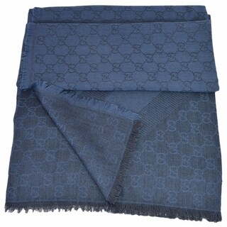 "Gucci 359905 Nile Blue XL Wool Silk Web Stripe GG Guccissima Scarf Muffler - 53"" x 53"""
